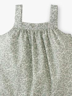 Robe fille en imprimé Liberty petites fleurs vertes  ADRIANE 20 / 20VV2213N18602