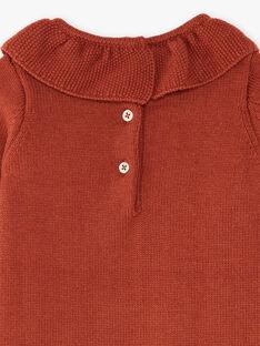 Robe fille en tricot coton et laine mérinos rouge brique BLANDINE 20 / 20IU19C1N18506