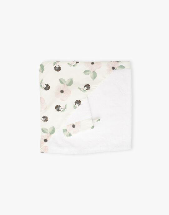 Cape de bain & gant vanille imprimé fleurs fille  ADILLE-EL / PTXQ6211N73114