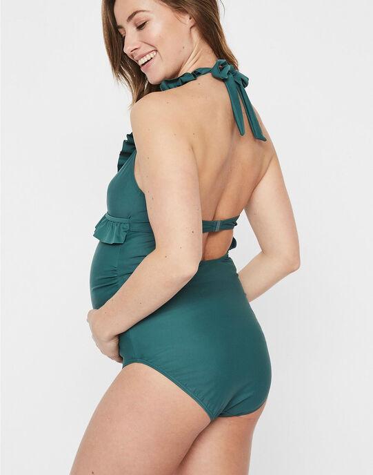 Maillot de bain de grossesse à volants vert MLANEMONE / 19VW2681N40600