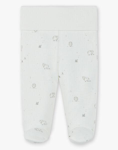 Pantalon mixte vanille en coton pima imprimé moutons  DESTIN 21 / 21PV2412N3A114