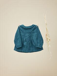 Chemisier en coton bleu avec motif floral fille VEDONNA 19 / 19IU1921N09631