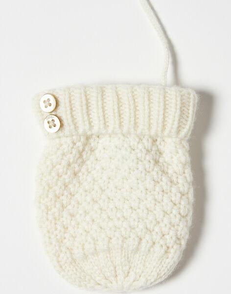 Moufles fille vanille tricot fantaisie en laine mérinos et cachemire BLEONA 20 / 20IU60C2N51114