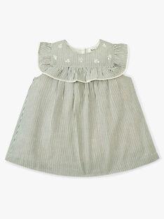 Robe et bloomer fille rayée vert de gris et touches de lurex   ANNELOU 20 / 20VU1929N18631