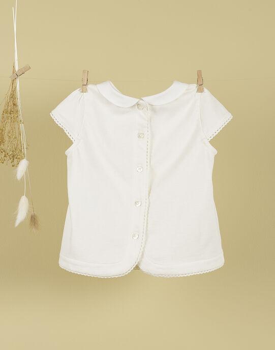 T-shirt vanille col claudine et broderies fille TELISEA 19 / 19VU1931N0C114
