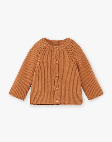 Gilet tricot garçon couleur pécan en coton biologique  COSMOS 21 / 21VU2012N12I821