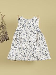Robe col claudine imprimés fleurs bleues fille TILLEUL 19 / 19VU1921N18707