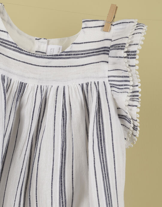Robe à rayures noires et blanches fille THELMA 19 / 19VU1934N18114
