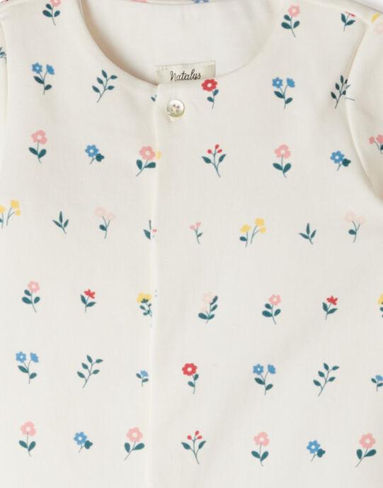 Grenouillère fille coton pima vanille imprimé petites fleurs ANADEIGE 20 / 20VX6531N32114