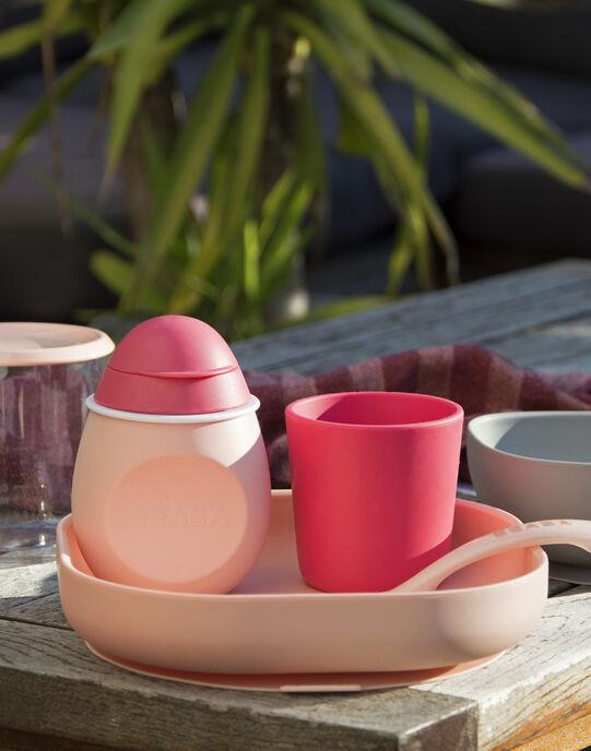 Set de vaisselle 4 pièces en silicone rose SET VAIS ROSE 4 / 18PRR2002CRE030