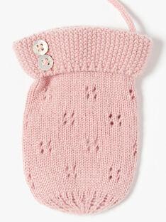 Moufles fille blush en tricot fantaisie ajouré laine mérinos et cachemire BESSE 20 / 20IU60C1N51D300