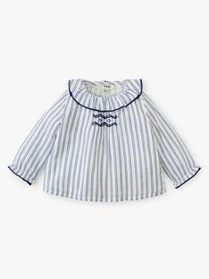 Blouse fille rayée vanille en coton avec smocks  ANOUETTE 20 / 20VU1915N09114