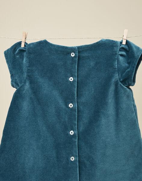 Robe manches courtes en velours palatine vert gris fille   VITABLEU 19 / 19IU193AN18631