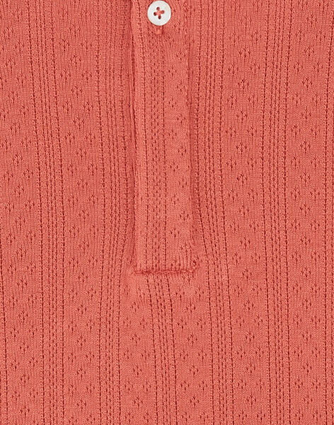 Tee-shirt fille manches courtes terracotta en coton pima ajouré COMETTE 21 / 21VV2211N0EE415