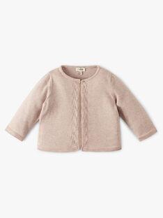 Cardigan fille coton cachemire couleur naturel chiné  ANAIS 20 / 20VU1911N11A010