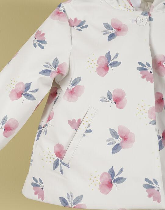 Imperméable blanc et fleurs fille TIMEA 19 / 19VU1921N15000