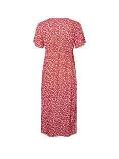 Robe midi de grossesse et d'allaitement à fleurs rouges MLLEAN DRESS / 19VW2687N18099