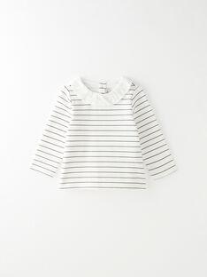Tee-shirt fille rayé en coton pima vanille   BILONE 20 / 20IU19C1N0C114