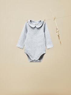 Body manches longues gris chiné bébé fille  VOULIA 19 / 19IU1913N29J920
