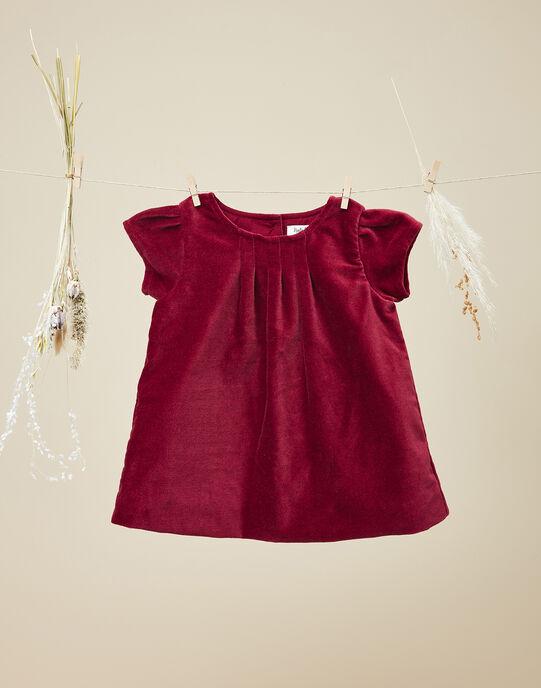 Robe manches courtes en velours palatine rose framboise fille   VITALINA 19 / 19IU1936N18308