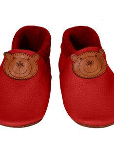 Chaussons en cuir rouge Ours L CHAU L OURS ROU / 15PSSO044AHY050