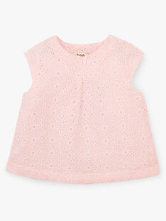 Blouse fille broderie anglaise couleur rose dragé  ALEINA 20 / 20VU1924N09D310