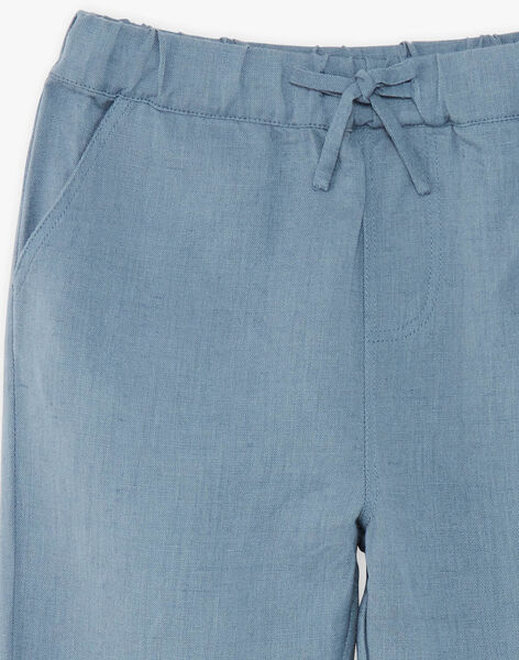 Pantalon enfant garçon bleu horizon en coton lin CHAD 468 21 / 21V129213N03216