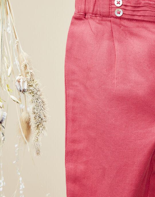 Pantalon en twill rose pétunia fille  VALESKA 19 / 19IU1922N03310