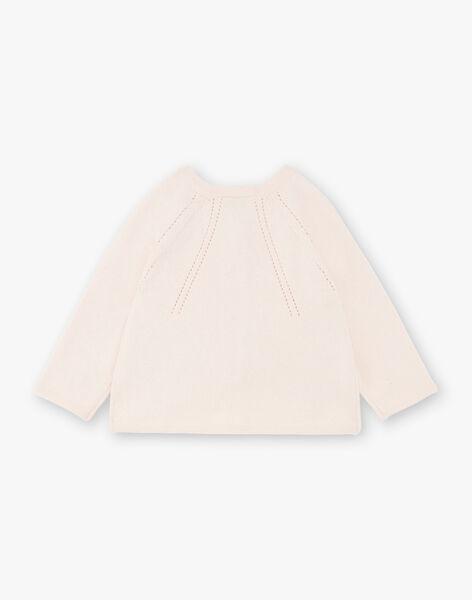 Cardigan fille en coton cachemire rose clair  CALIE 21 / 21VU1913N11321