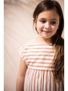 Blouse vanille et brique à rayures en coton enfant fille CONSTANCE 468 2 / 21V129112N09114