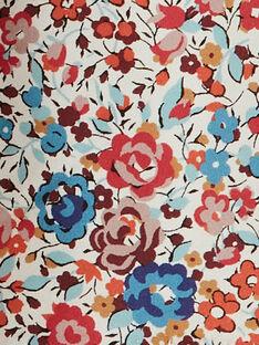 Robe fille vanille manches courtes en imprimé Liberty floral  BINA 20 / 20IU1954N18099