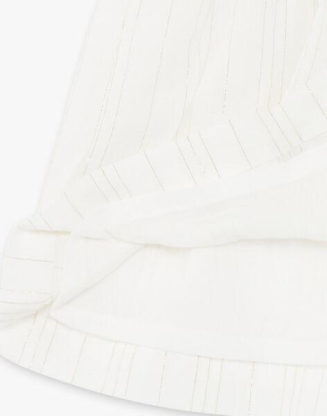 Robe vanille à rayures dorées Lurex® en coton fille CAPUCINE 21 / 21VU1918N18114