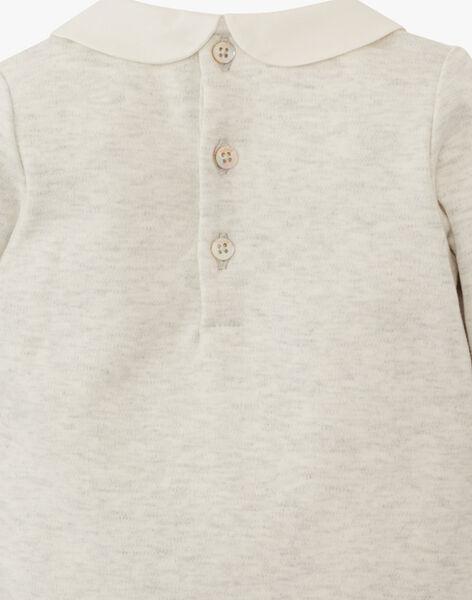 Body fille à col et manches longues coton pima gris chiné clair  ASARAH-EL / PTXU1911N29J920