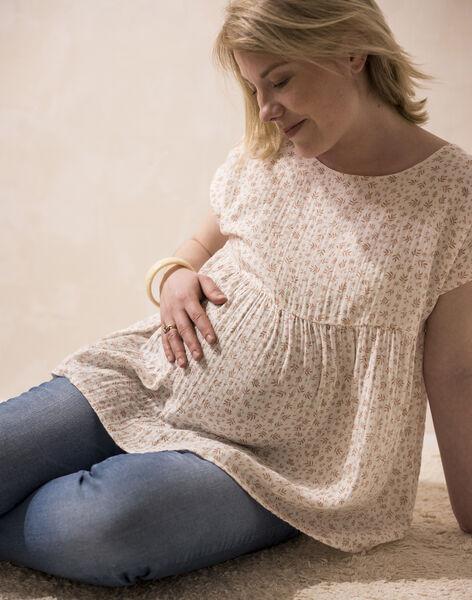 Blouse future maman imprimé sur gaze de coton biologique vanille CAMILIA 21 / 21VW2632N09114
