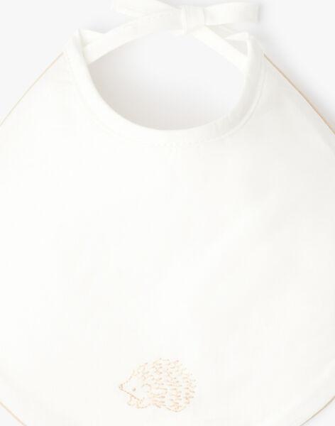 Bavoir mixte vanille brodé hérisson ABAZIL-EL / PTXQ6412N72114