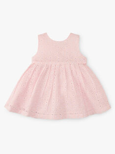 Robe et bloomer fille broderie anglaise couleur rose dragé   AZELIE 20 / 20VU1928N18D310
