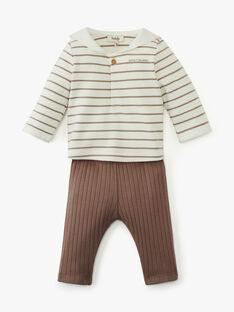 Ensemble mixte tee-shirt rayé et pantalon en côtes unie ADAGIO 20 / 20PV2411N19114