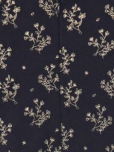 Grenouillère fille bleu nocturne zippé imprimé oiseaux et fleurs doré  BALLERINE-EL / PTXX8513N32713