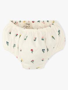 Robe et bloomer fille manches courtes en imprimé fleurs brodé vanille   AURIA 20 / 20VU1924N18114