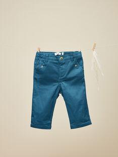 Pantalon en satin bleu canard garçon  VIKING 19 / 19IU2021N03714