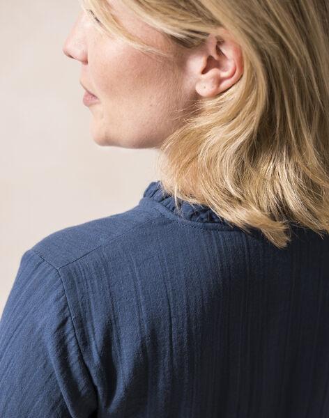 Robe future maman bleu paon en gaze de coton biologique CARMEN 21 / 21VW2631N18C235