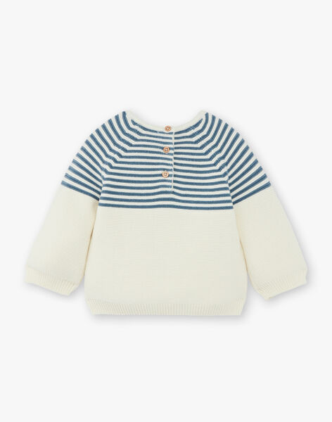Pull tricot garçon rayé vanille coton biologique  CHARLES 21 / 21VU2022N13114