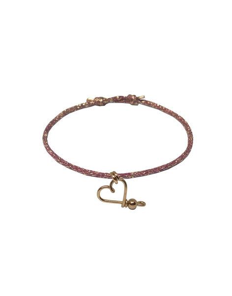 """Bracelet """"Mon cœur"""" Padam Padam à paillettes doré & lie-de-vin 1,5x6,5x5 cm COEUR DORE LIE / 19PCTE007BIJ999"""