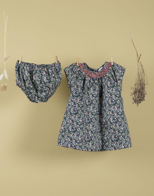 Robe et bloomer en Liberty bleu fille TEFEUILLE 19 / 19VU1937N18705