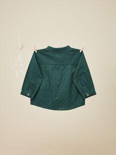 Chemise en coton vert émeraude garçon   VASSILI 19 / 19IU2032N0A608