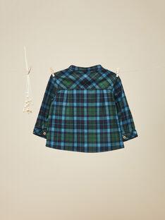 Chemise à carreaux bleu canard garçon   VIKANTI / 19IU2034N0A714