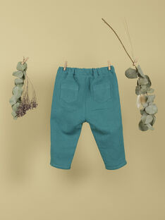 Pantalon vert émeraude en coton et lin garçon TEOPHILE 19 / 19VU2032N03608