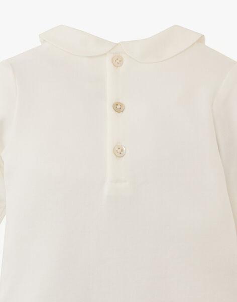 Body fille à col et manches longues en coton pima vanille  ASALOME-EL / PTXU1913N29114
