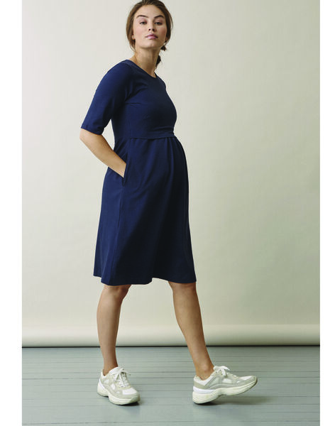 Robe de grossesse & allaitement coton bio Boob bleu marine BOLINNEA / PTXW2611N18713