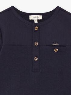 T-shirt manches longues bleu marine bébé garçon DARYL-EL / PTXU2011N0F070